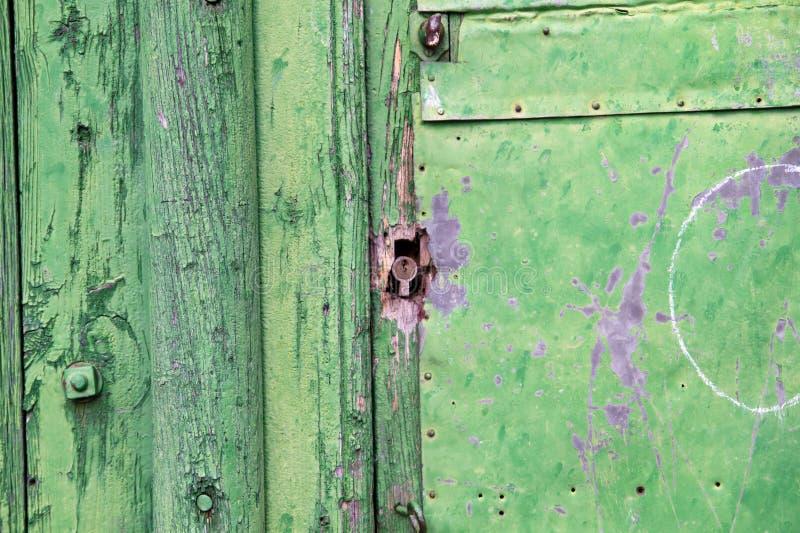Painéis de madeira verdes. Porta antiga fotografia de stock