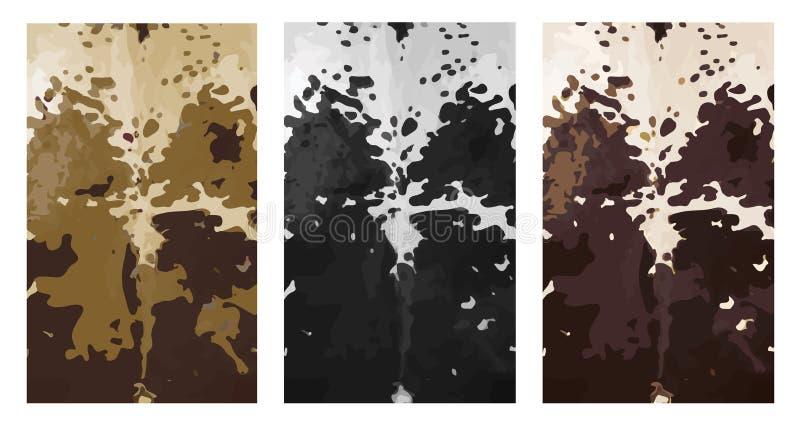 3 painéis do couro cru da pele da vaca do nguni do africano ilustração do vetor