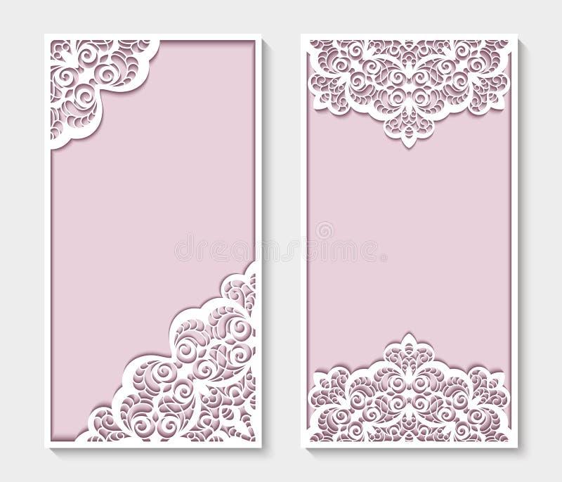 Painéis do retângulo com teste padrão do laço do entalhe ilustração royalty free