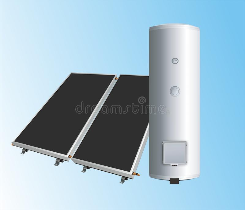 Painéis solares à caldeira 2 ilustração royalty free