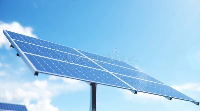 pain?is solares da ilustra??o 3D no mar ou no oceano Energia alternativa Conceito da energia renov?vel Ecol?gico, limpo fotografia de stock