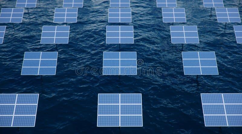 pain?is solares da ilustra??o 3D no mar ou no oceano Energia alternativa Conceito da energia renov?vel Ecol?gico, limpo fotografia de stock royalty free