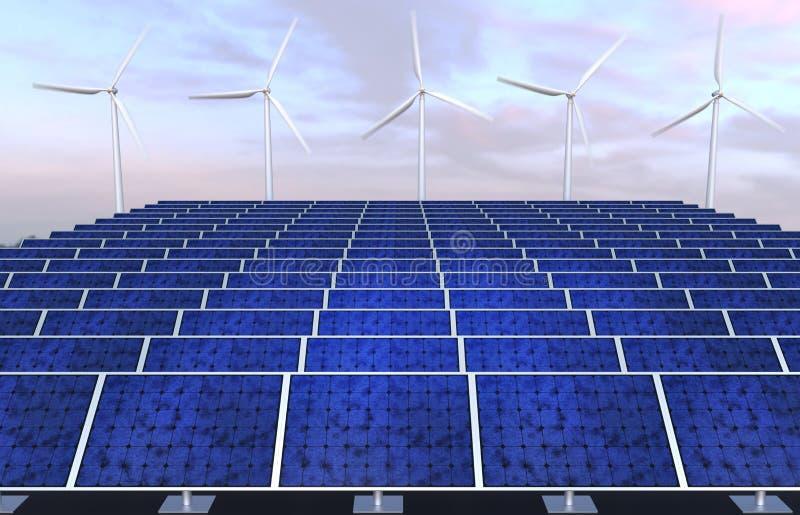 Painéis solares e geradores de vento contra o céu do por do sol fotografia de stock royalty free