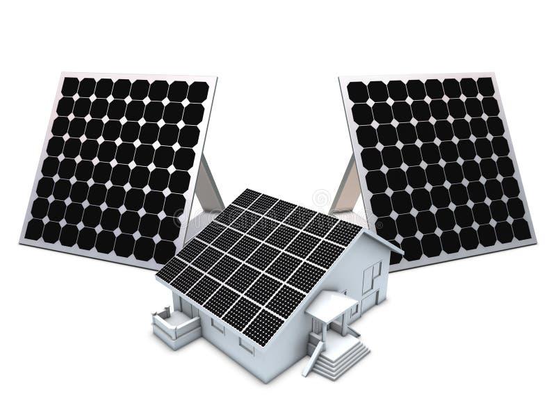 Painéis solares e modelo da casa ilustração royalty free