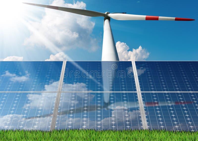 Painéis solares e uma turbina eólica foto de stock royalty free