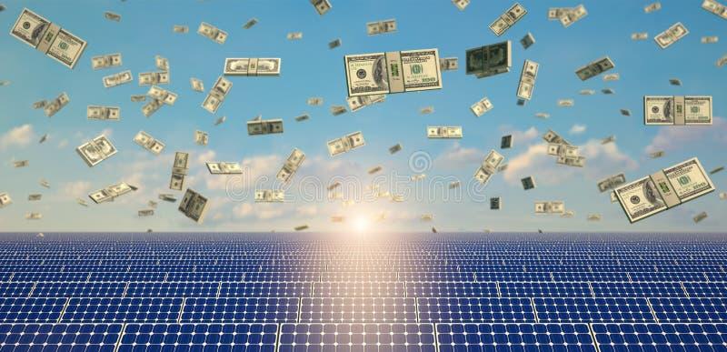 Painéis solares em um telhado ilustração royalty free