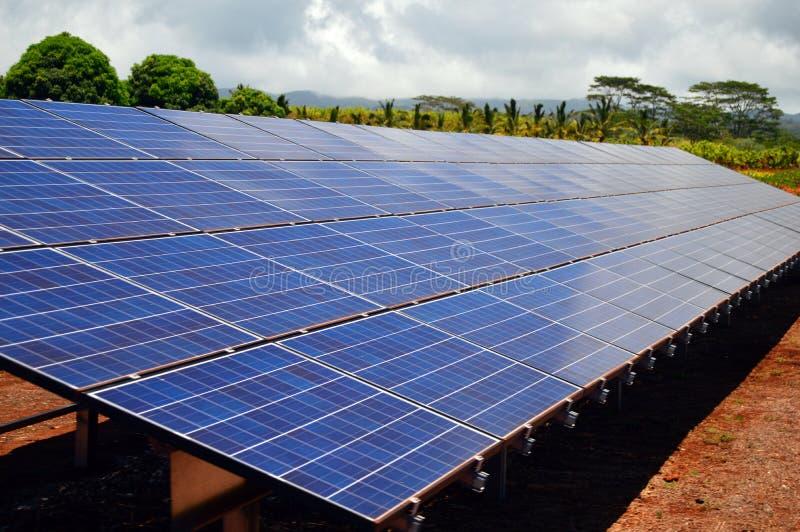 Painéis solares em uma fazenda imagem de stock