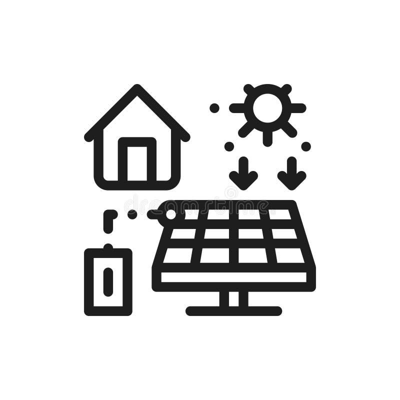 Painéis solares produzindo a linha de eletricidade ícone ilustração royalty free