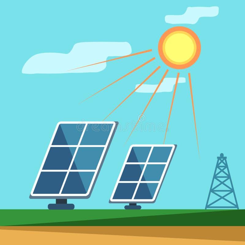 Painéis solares sob o sol imagens de stock