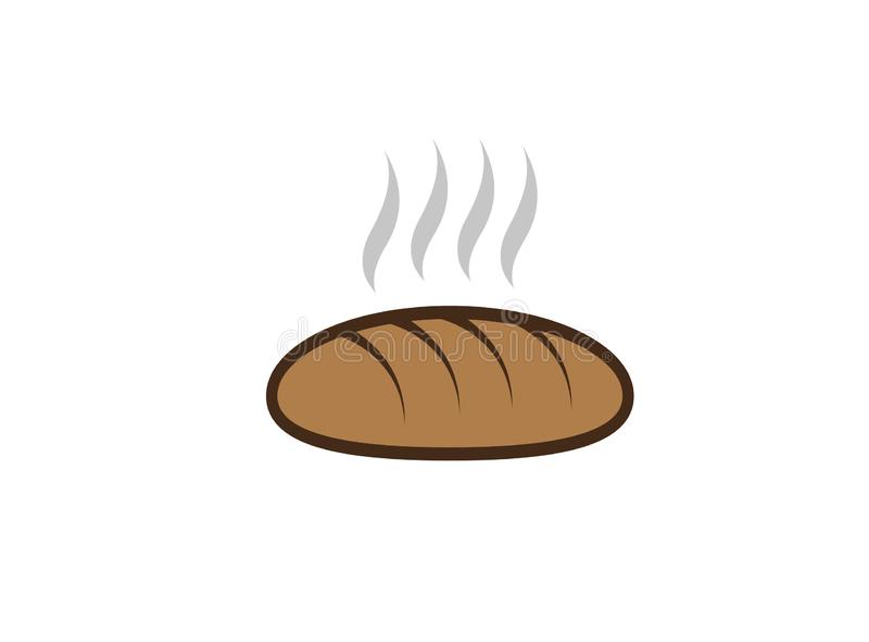 Pain chaud créatif pour l'illustration de conception de logo, symbole de magasin de boulangerie illustration libre de droits