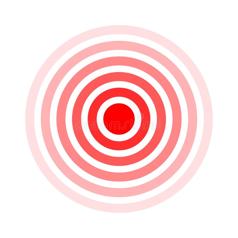 Pain circle. Red rings. Symbol throbbing pain. Medical design icon. Vector illustration.  stock illustration