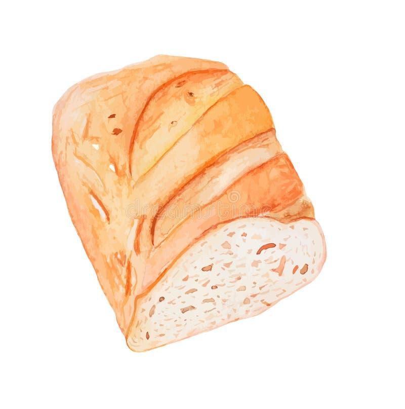 Pain coupé en tranches du pain blanc - dirigez la peinture d'aquarelle image libre de droits