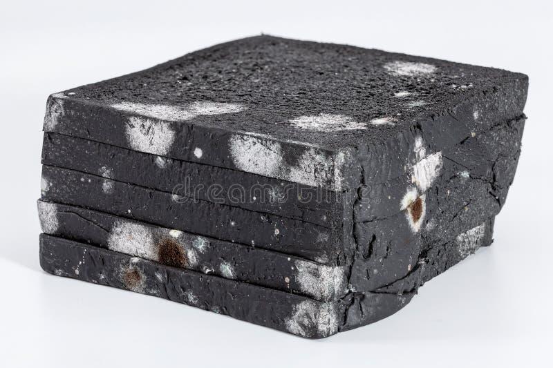 Pain coupé en tranches moisi de pain noir plus de photo libre de droits