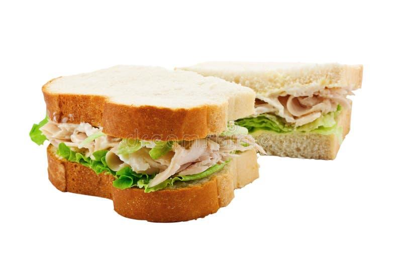 Pain coupé en tranches par sandwich de salade de la Turquie photographie stock