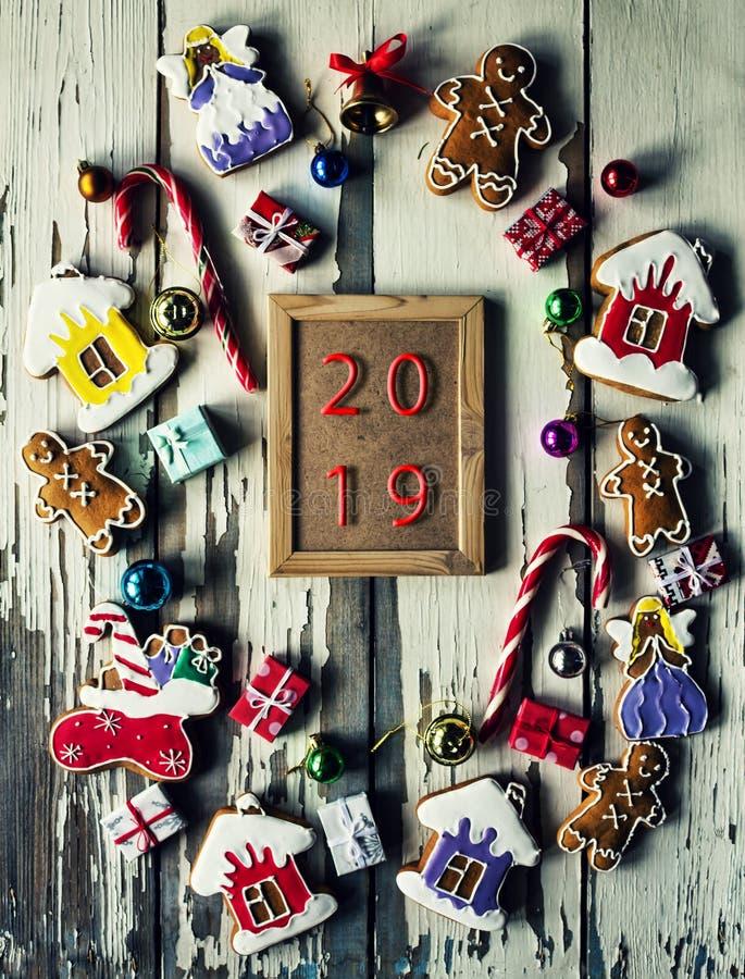 2019 Pain d'épice de Noël Nouvelle année 2019, bougie, célébration, biscuit, fait maison image libre de droits