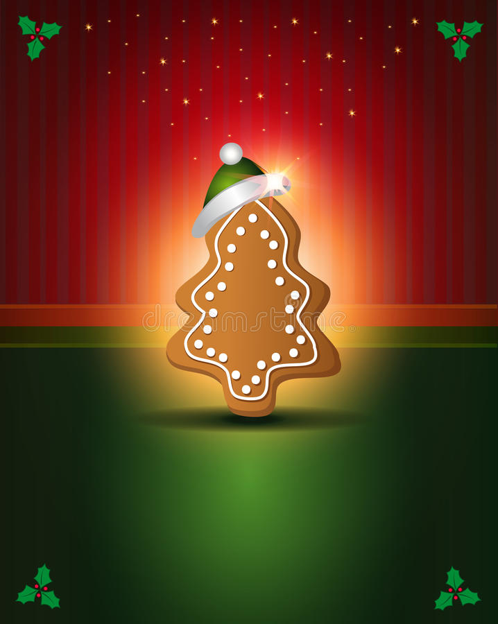 Pain d'épice vert rouge de cartes de Noël illustration libre de droits