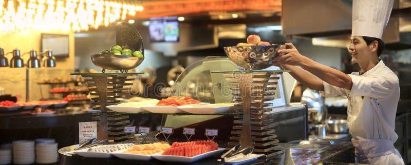 Pain d'hôtel de la Chine au buffet photos stock