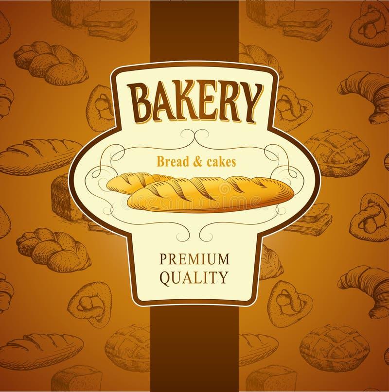 Pain de boulangerie Modèle sans couture de fond illustration libre de droits
