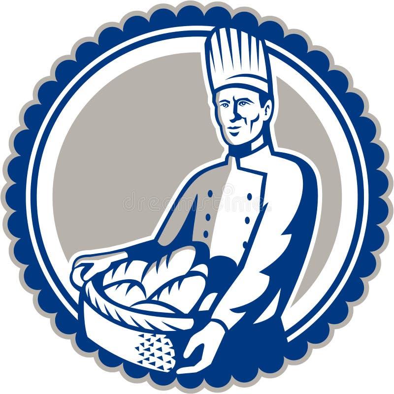 Pain de Holding Basket Bread de Baker rétro illustration de vecteur