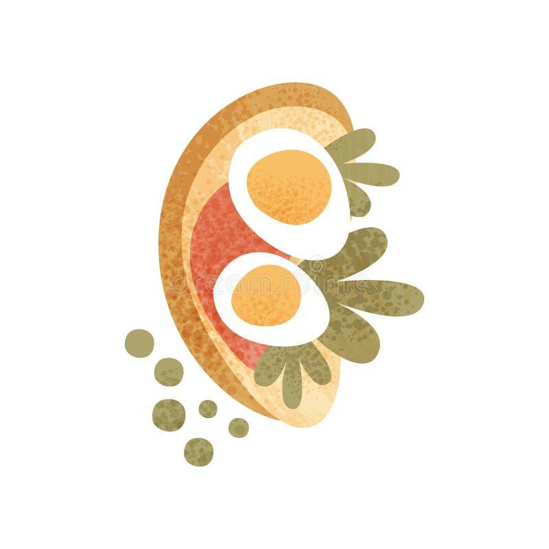 Pain de Rye avec l'oeuf à la coque, la sauce rouge et les verts Sandwich pour le repas appétissant de matin de petit déjeuner Vec illustration stock