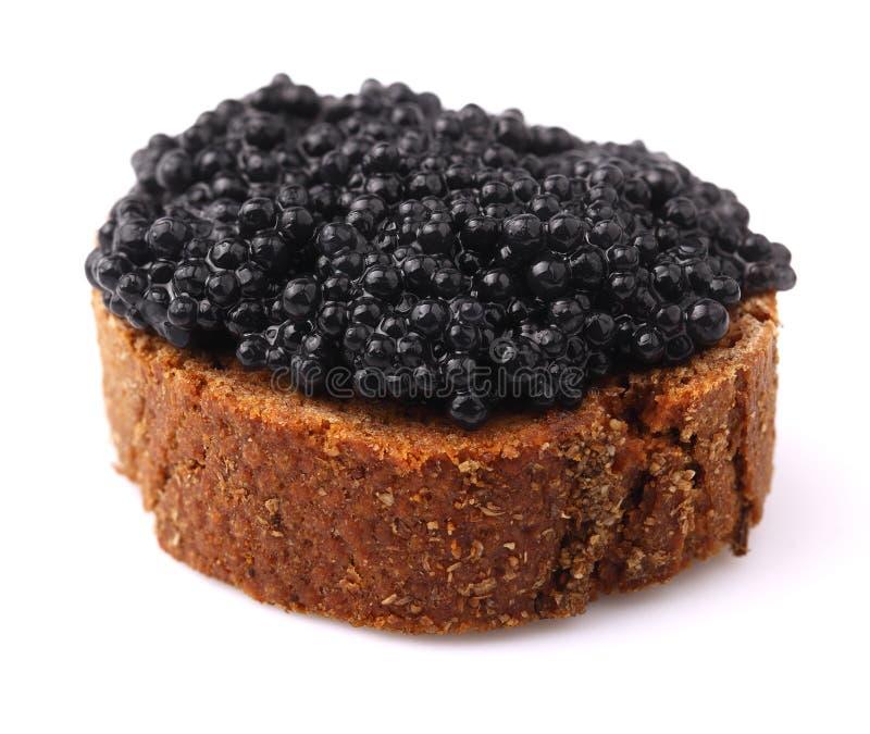 Pain de Rye avec le caviar. images stock