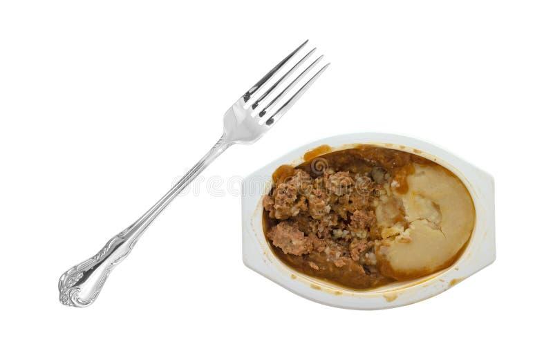 Pain de viande de Microwaved et dîner de TV de purée de pommes de terre photographie stock libre de droits