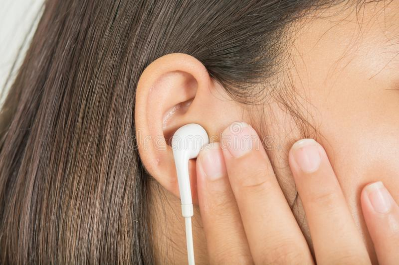Pain in the ear stock photo