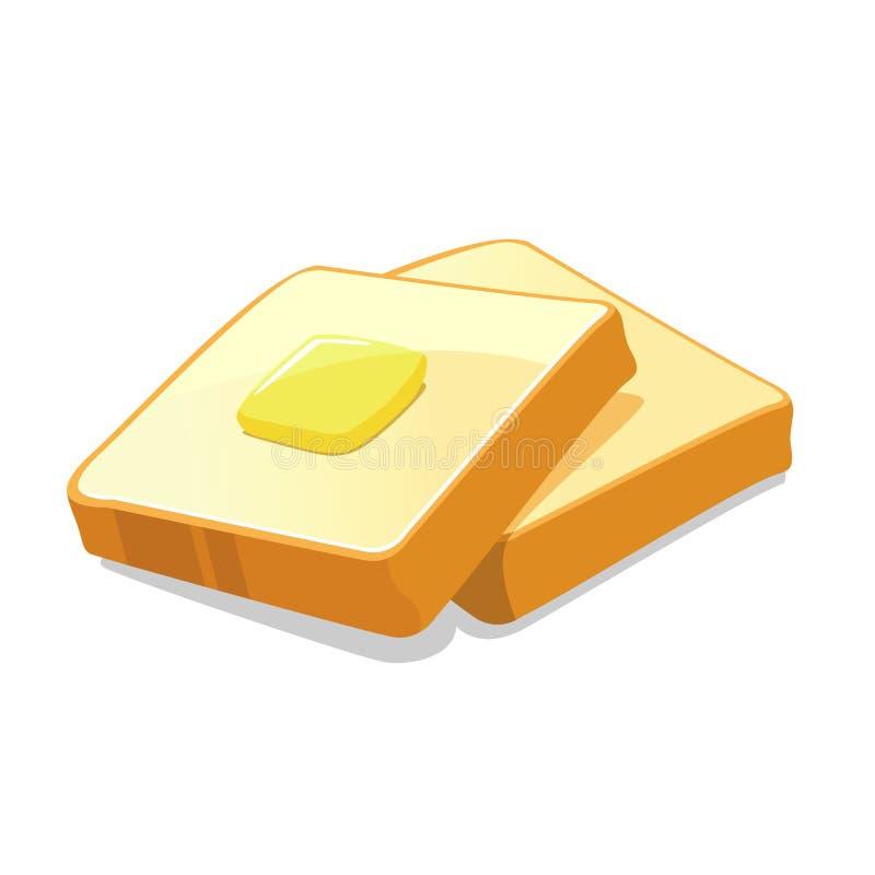 Pain et beurre illustration de vecteur