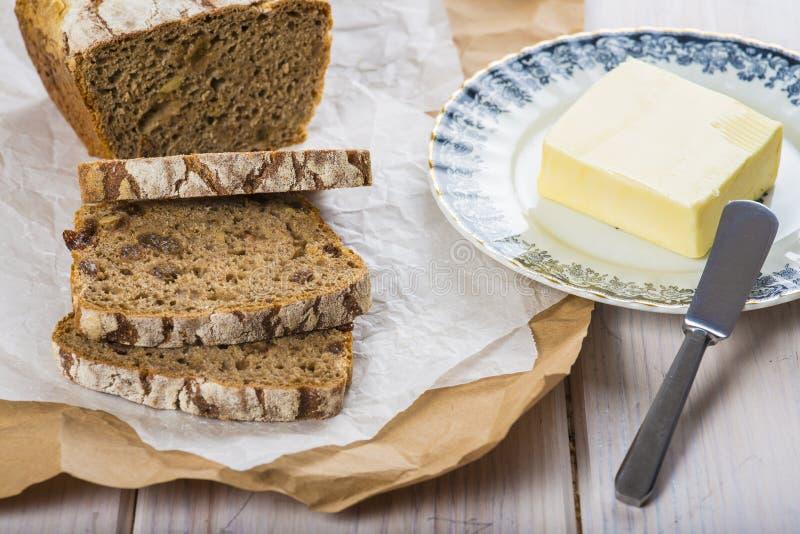 Pain et beurre de Rye image stock