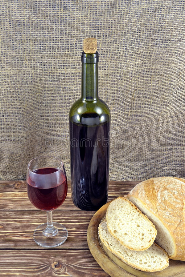 Pain et vin photo stock