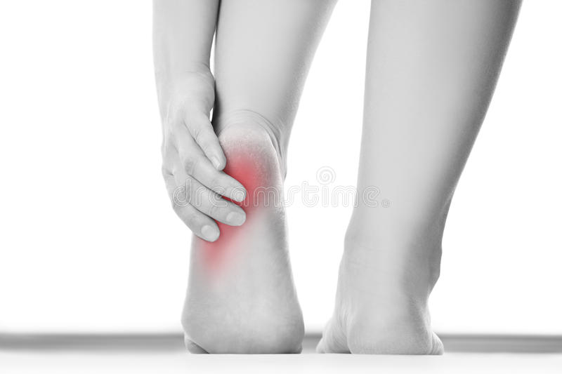 Pain in the female foot royalty free stock photo