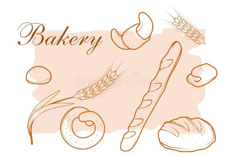 Pain frais Produits de boulangerie illustration stock