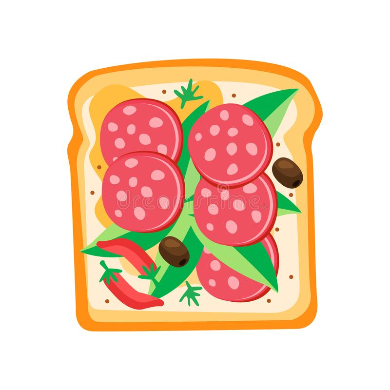Pain grillé avec des pepperoni, des feuilles de basilic, des olives et le poivre d'un rouge ardent Sandwich délicieux pour le vec illustration libre de droits
