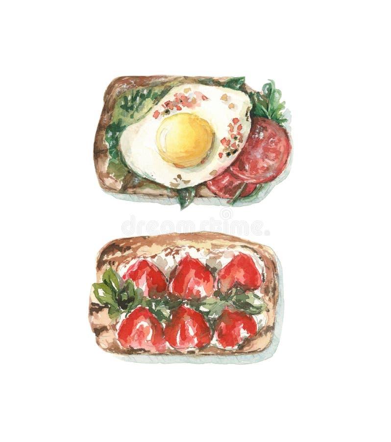 Pain grillé avec l'oeuf et les tomates, le pain grillé avec des fraises et le fromage photo libre de droits
