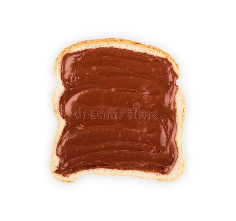 Pain grillé avec le nutella de confiture, miel sur l'ensemble blanc de fond photos stock