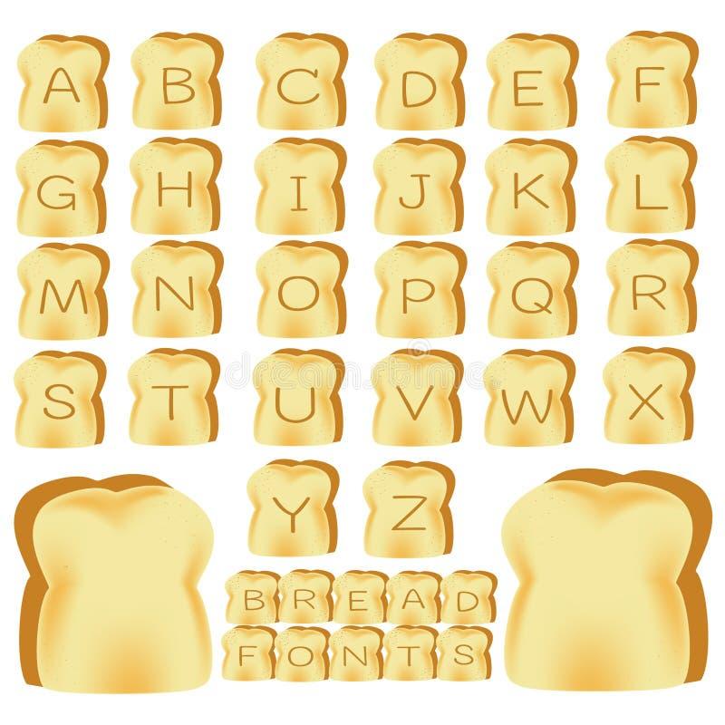 Pain grillé d'alphabets illustration stock