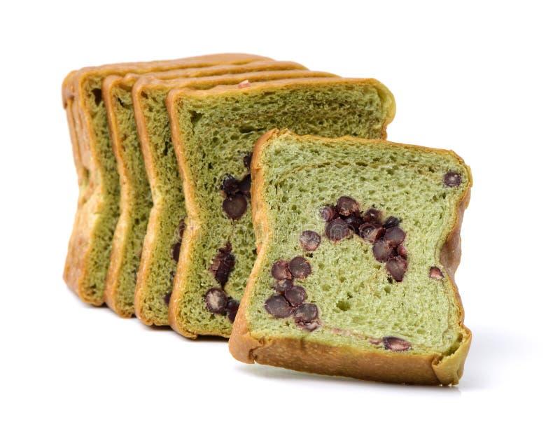 Pain grillé de thé vert avec les haricots rouges photo stock