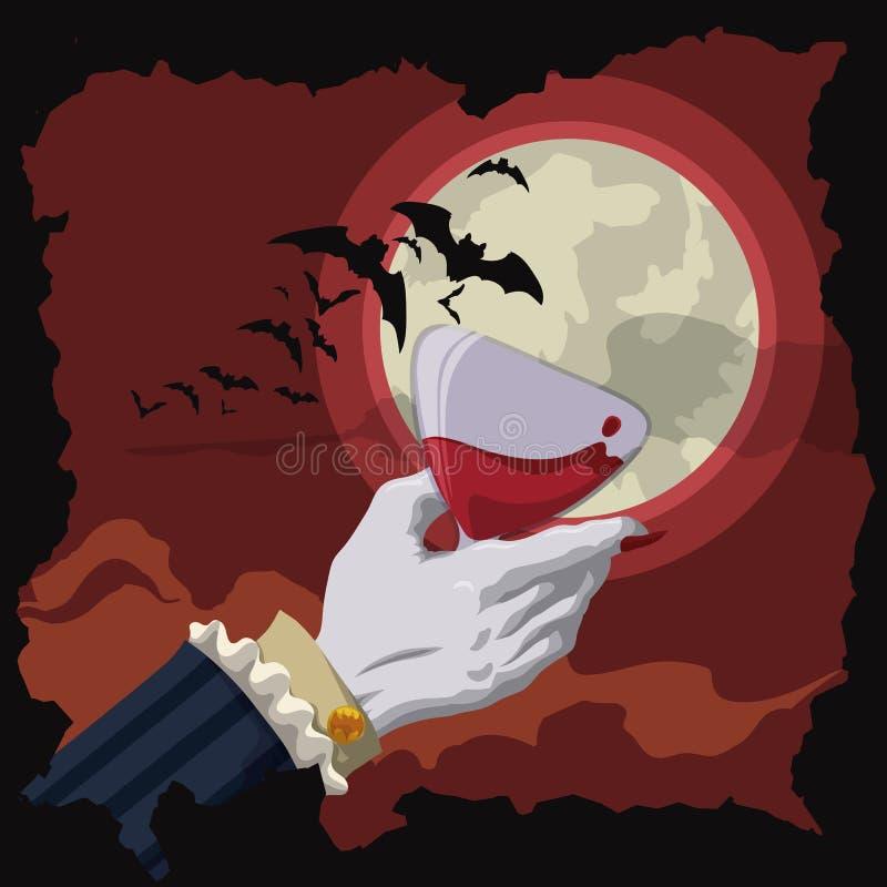 Pain grillé de vampire la nuit rouge avec la lune et les battes, illustration de vecteur illustration libre de droits