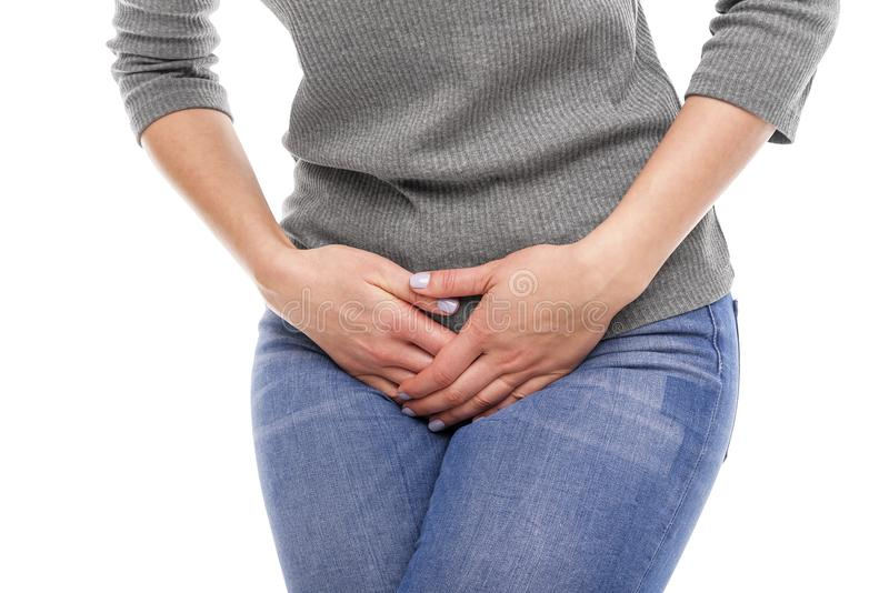 Pain in the groin. stock images