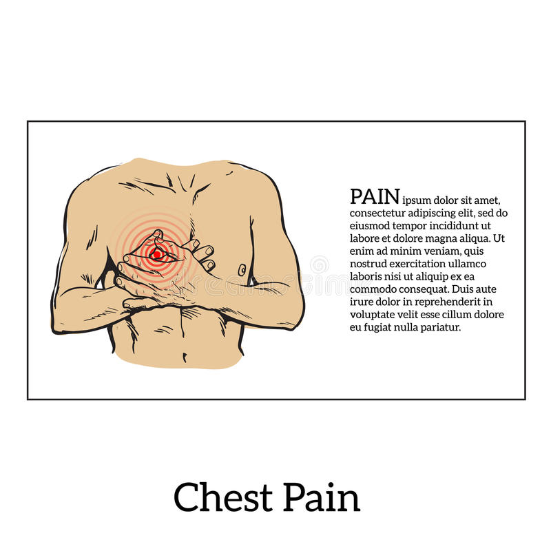 Pain in the heart of a man royalty free illustration