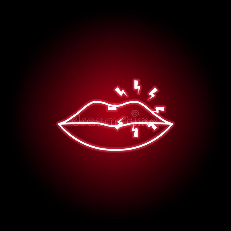 pain in the lips icon in neon style. Element of human body pain for mobile concept and web apps illustration. Thin line icon for stock illustration
