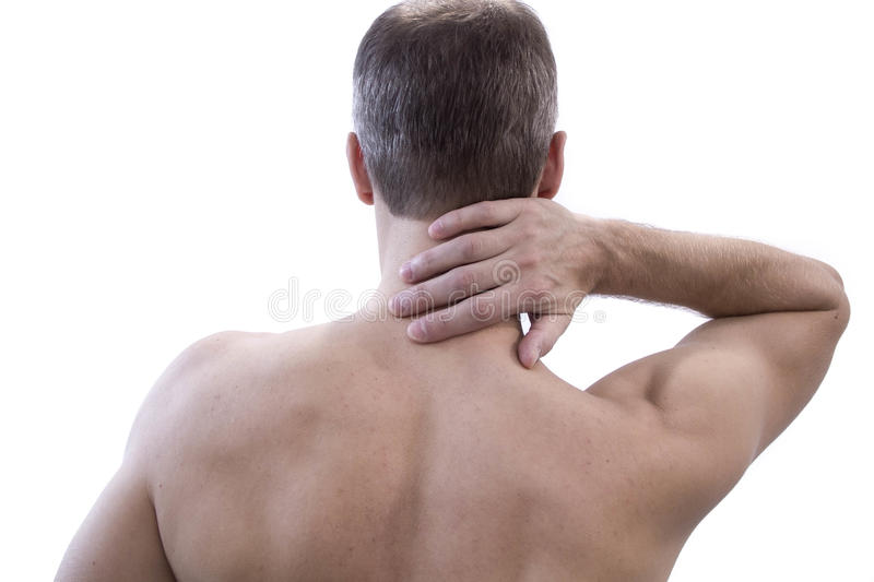 Pain in the neck. Man with backache. Muscular male body. Isolated on white background red dot royalty free stock photos