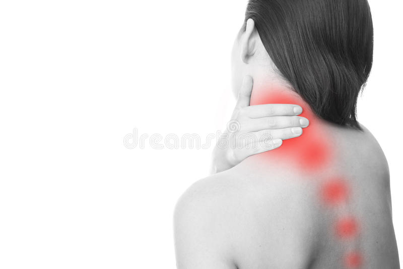 Pain in neck of women stock photos