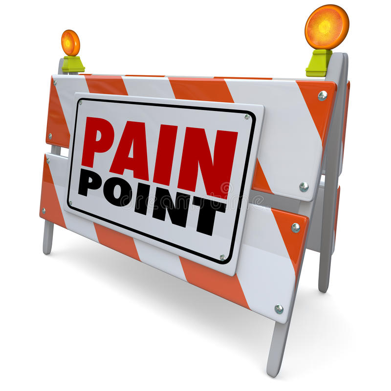 Pain Point Sign Warning Danger Customer Problem Difficulty Need. Pain Point words on road construction barrier or sign to illustrate a customer problem, need vector illustration