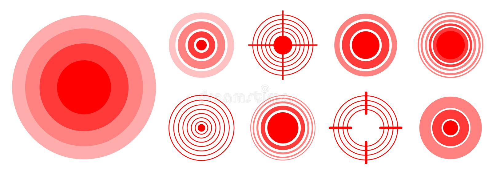 Pain red rings to mark painful woman and man body parts, neck, bones, muscle and headache. Medical vector set of radial vector illustration
