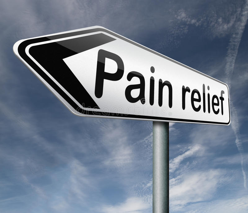 Pain relief. Or management by painkiller or other treatment chronic back injury road sign with text vector illustration