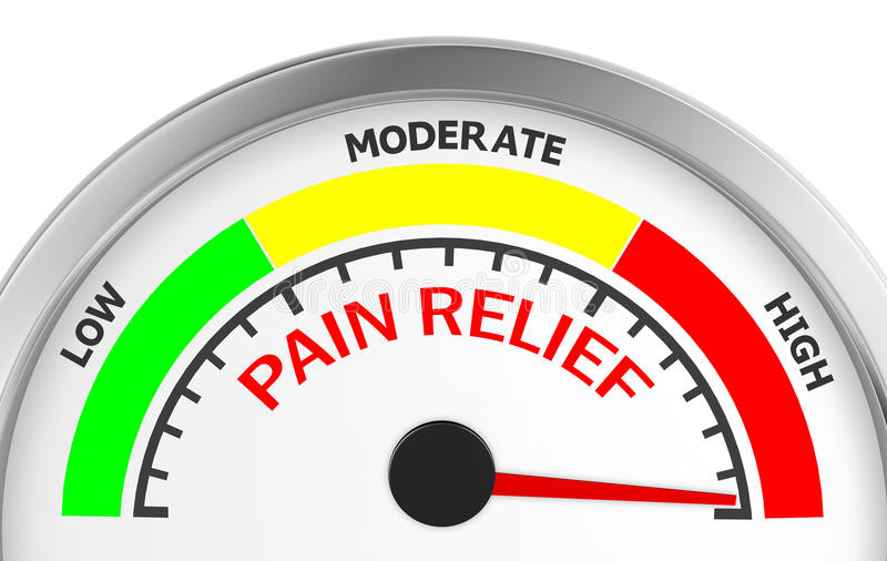 Pain relief. Meter indicate hundred per cent 3d rendering royalty free illustration