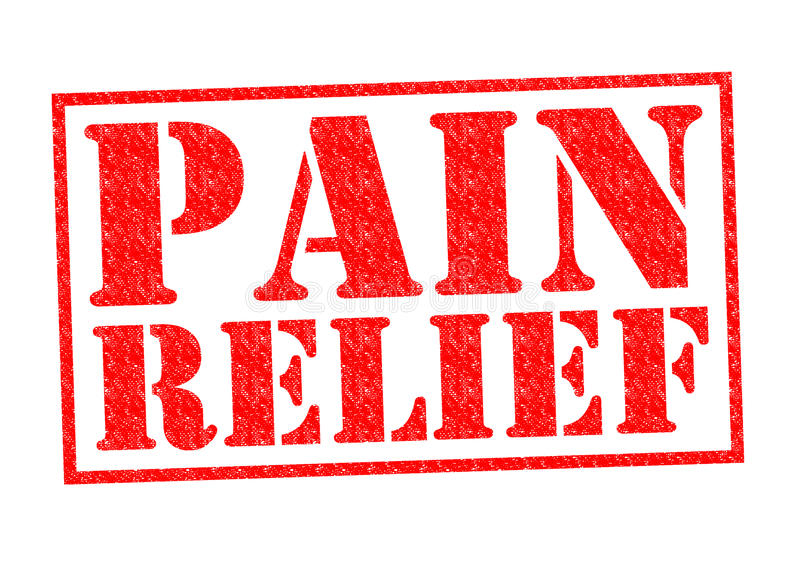 PAIN RELIEF. Red Rubber Stamp over a white background stock illustration