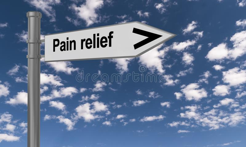 Pain relief. Sign post with text in black letters 'Pain relief' and arrow on white, with blue sky and small puffy clouds as background stock illustration