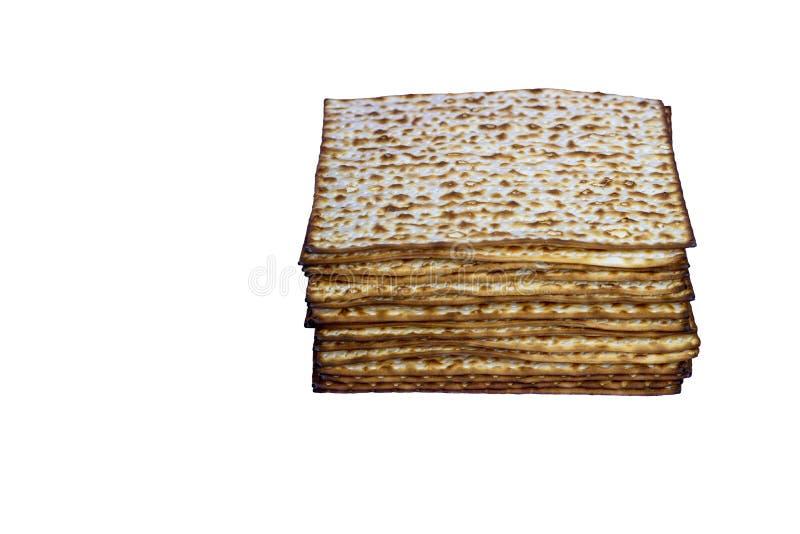 Pain sans levain de p?que traditionnelle juive de Matzah Symbole de c?l?bration de Pesach Image d'isolement image stock